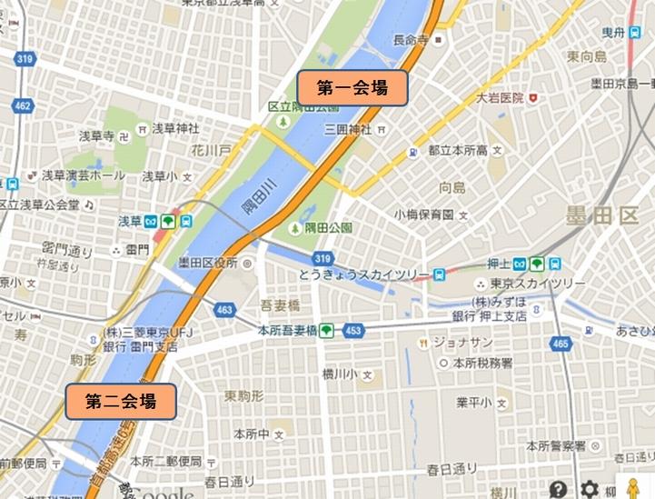 隅田川花火会場マップ